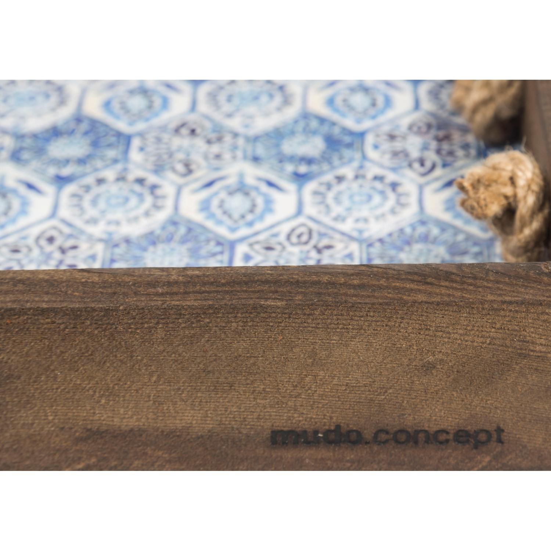 VINTAGE BLUE HALATLI TEPSI 39x20x5 CM