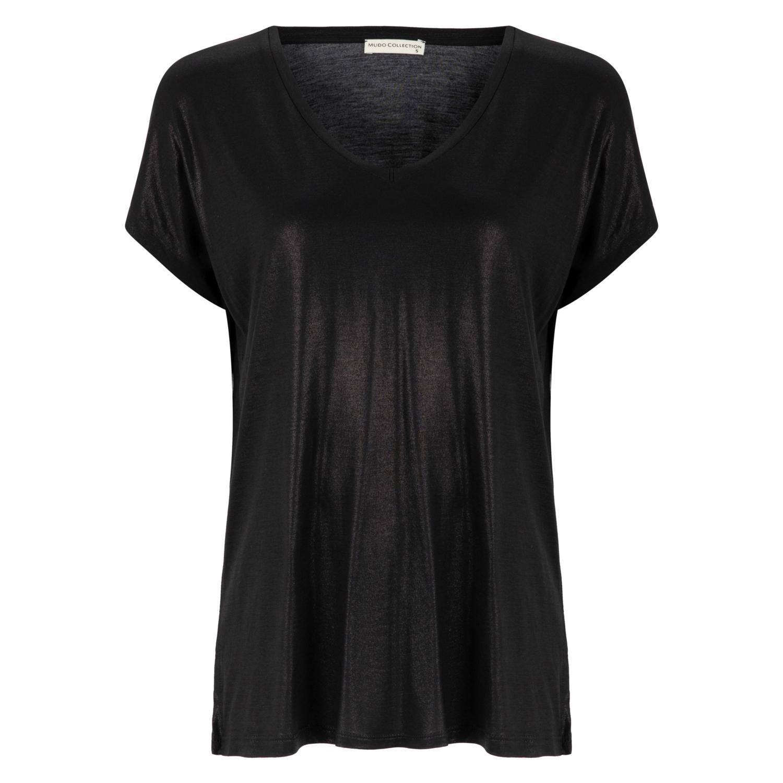 Kadın Parlak Desenli V Yaka Kisa Kol T Shirt 1197645 Mudo