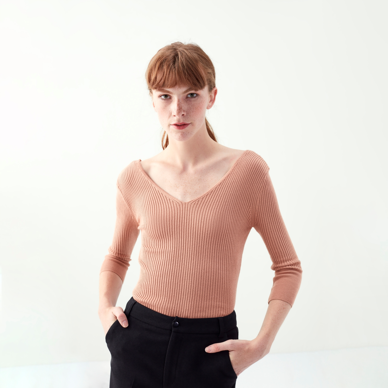 Kadın TEN RENGI V YAKA TRİKO KAZAK 1193205|MUDO
