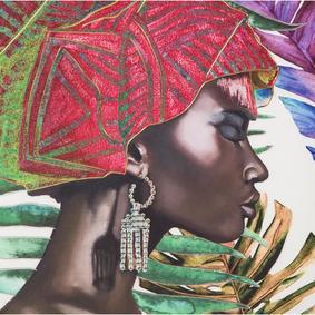 AFRICAN LADY I TABLO 75X100 CM