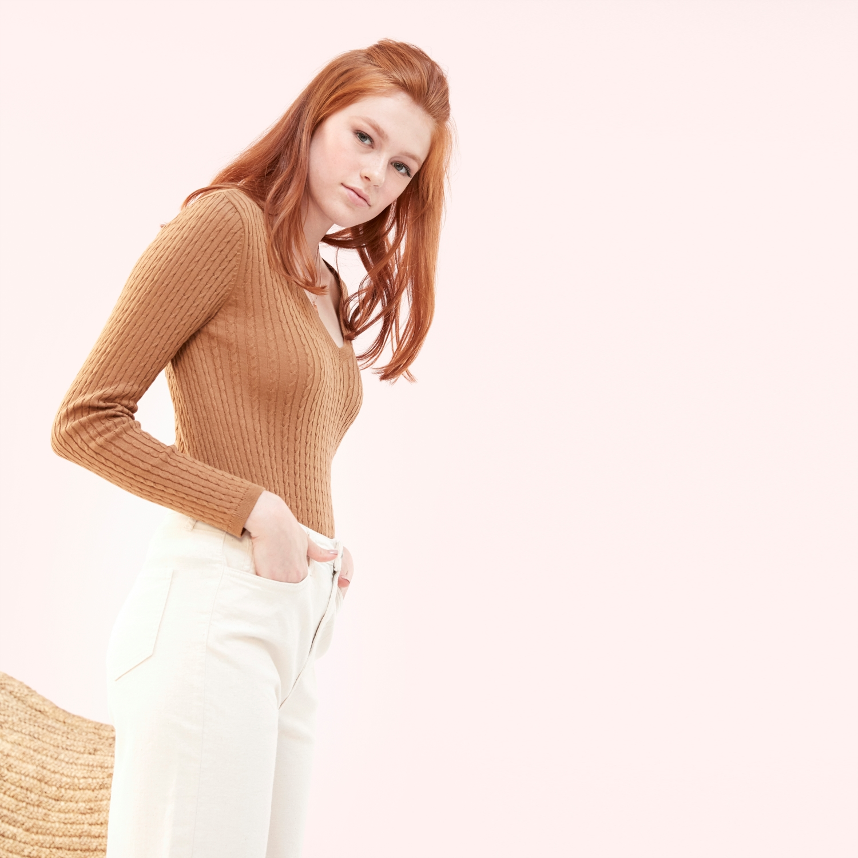 Kadın TABA V YAKA KAZAK 1202562|MUDO