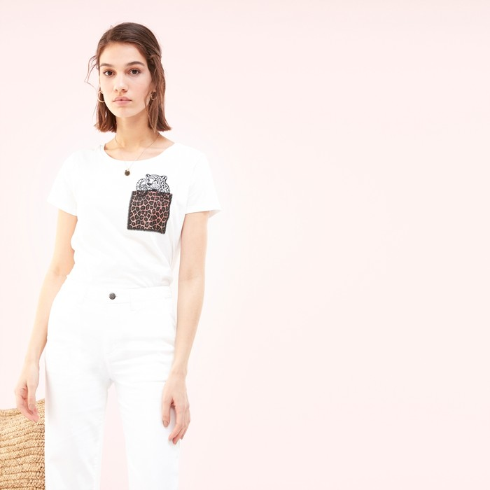 Kadın BEYAZ LEOPAR DETAYLI BİSİKLET YAKA T-SHIRT 1204449|MUDO