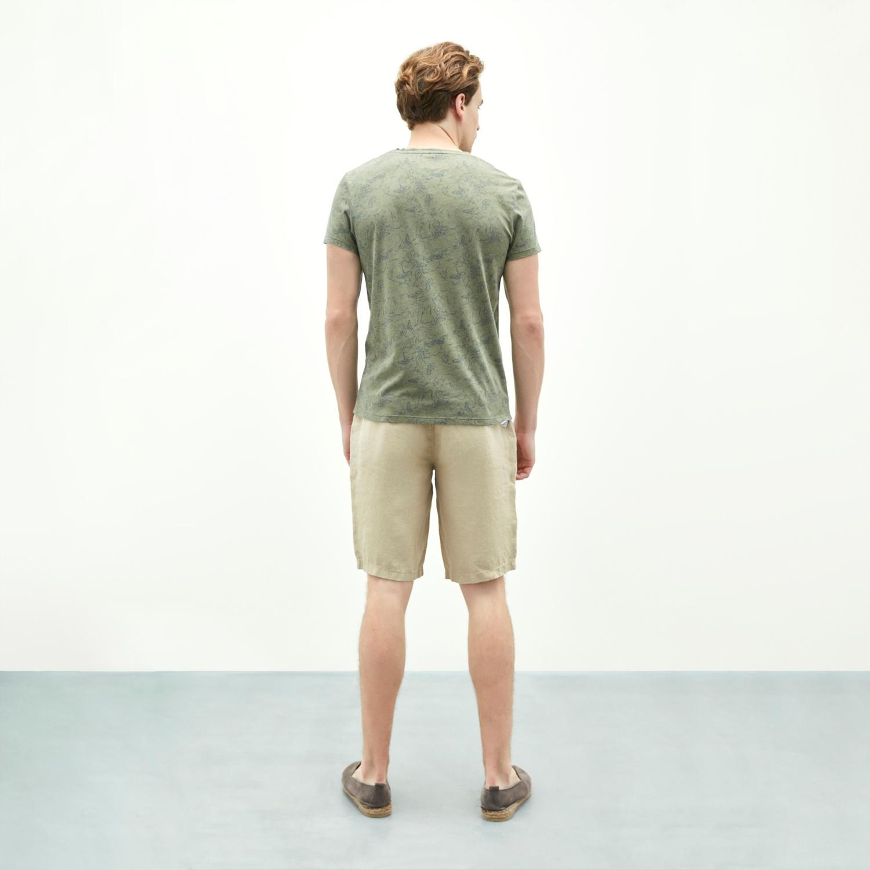 Erkek HAKİ CEP DETAYLI BİSİKLET YAKA KISA KOLLU T-SHIRT 1204950|MUDO