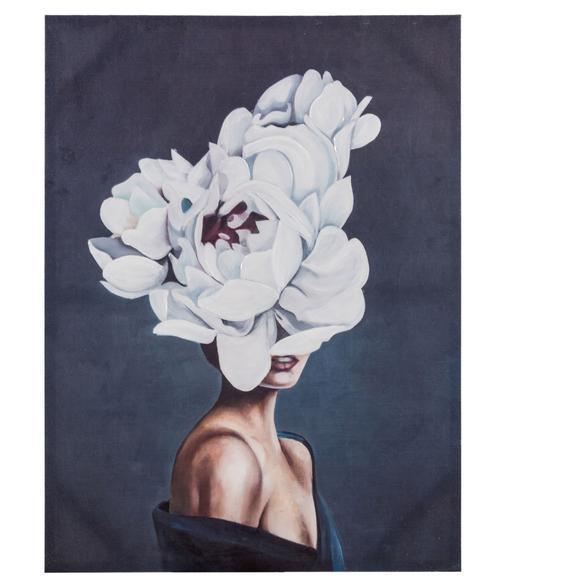FLOWER LADY WHITE TABLO 90X120 CM