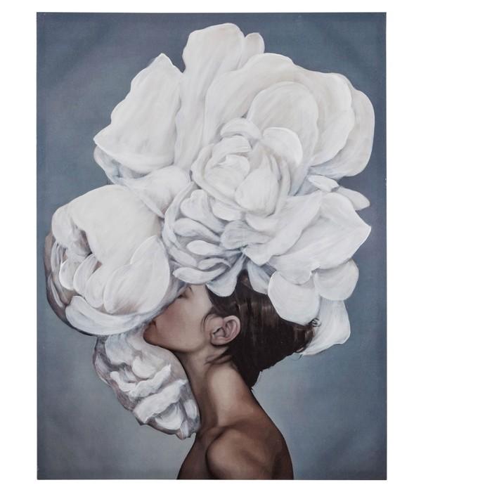 FLOWER LADY WHITE TABLO II 75X100 CM
