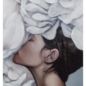 FLOWER LADY WHITE II 75X100 CM