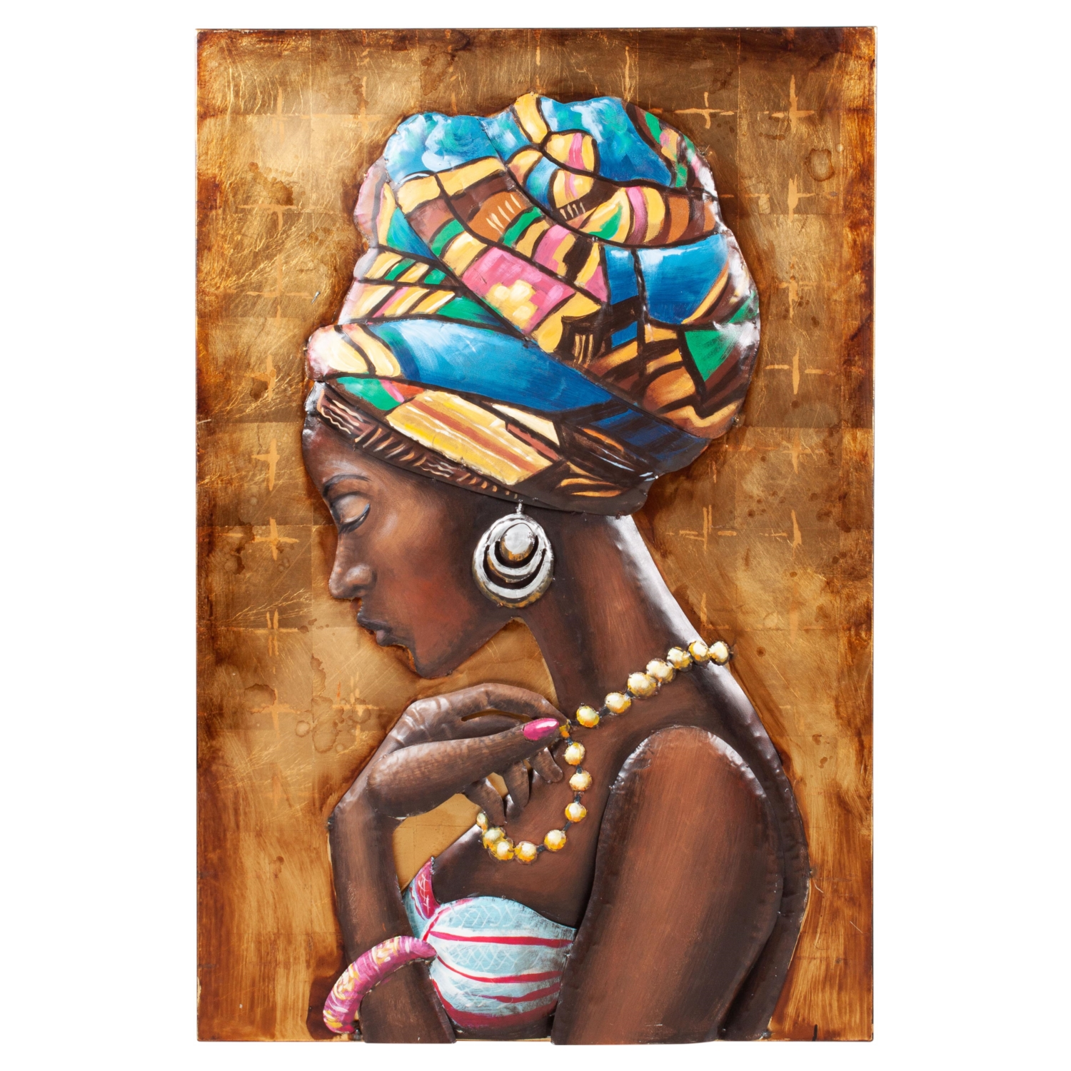 AFRICAN LADY GOLD METAL PANO 120X80CM