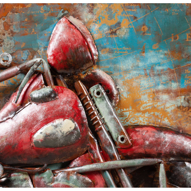 OLD MOTORCYCLE METAL PANO 100X100CM