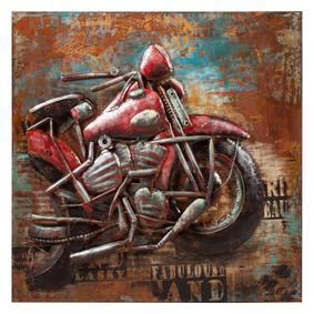OLD MOTORCYCLE METAL PANO 100X100CM