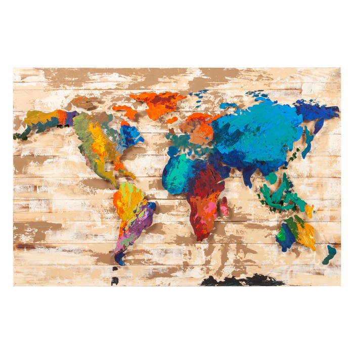 COLORFUL WORLD CHART METAL-AHŞAP PANO 120X80CM