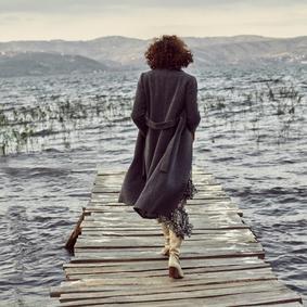 Kadın KOYU GRİ KUŞAKLI UZUN KALIN KABAN 1210943|MUDO