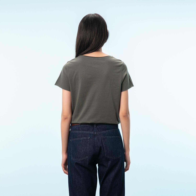 Kadın HAKİ BİSİKLET YAKA SLOGANLI PAMUK T-SHIRT 1211841|MUDO
