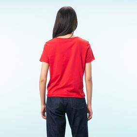 Kadın KIRMIZI BİSİKLET YAKA SLOGANLI PAMUK T-SHIRT 1211839|MUDO