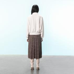 Kadın KAHVE MELANJ PİLELİ MİDİ BOY ETEK 1212218|MUDO