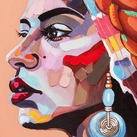 AFRICAN LADY PINK TABLO 90X120CM
