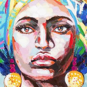 AFRICAN LADY BLUE TABLO 90X120CM
