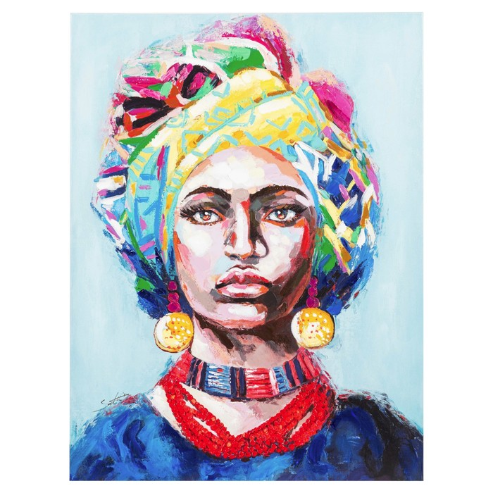 AFRICAN LADY BLUE YAĞLI BOYA TABLO 90X120CM