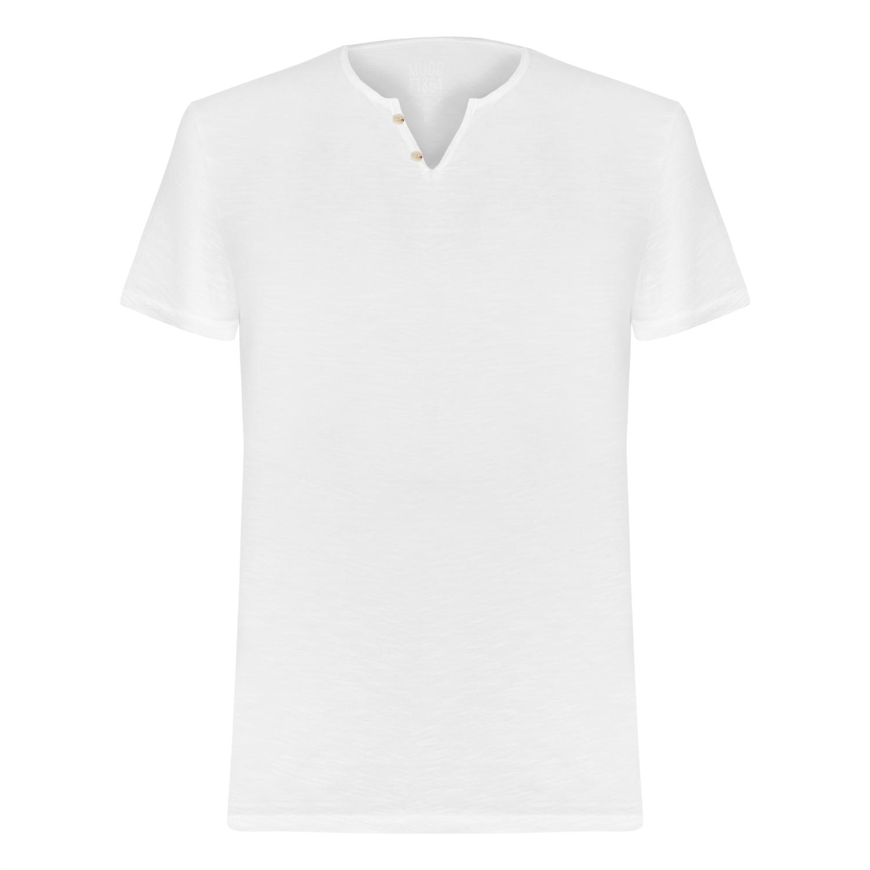 Erkek BEYAZ V YAKA PAMUK BASIC T-SHIRT 1216161|MUDO