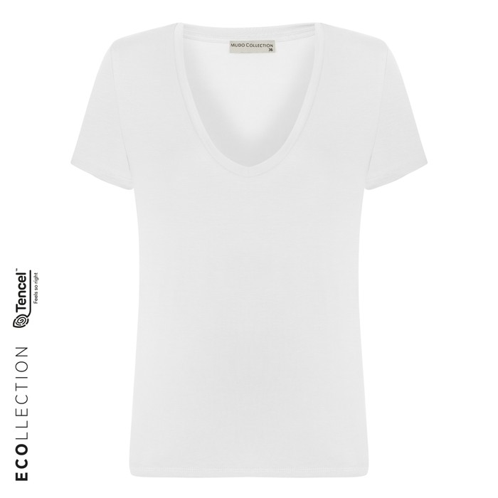 Kadın EKRU V YAKA BASIC T-SHIRT (TENCEL ™ ) 1216204|MUDO