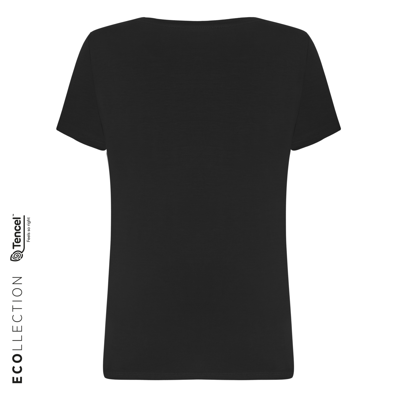 Kadın SİYAH V YAKA BASIC T-SHIRT (TENCEL ™ ) 1216204|MUDO
