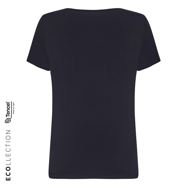 Kadın LACİVERT V YAKA BASIC T-SHIRT (TENCEL ™ ) 1216204|MUDO