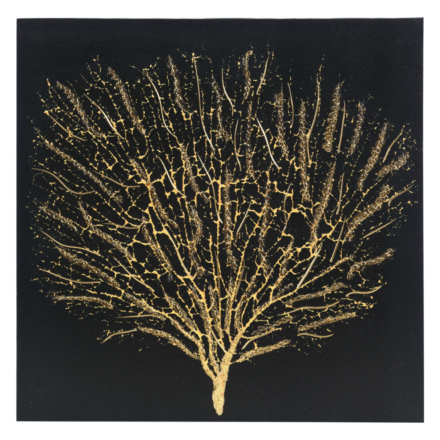 SHINY TREE BLACK KABARTMA KANVAS TABLO 80X80 CM