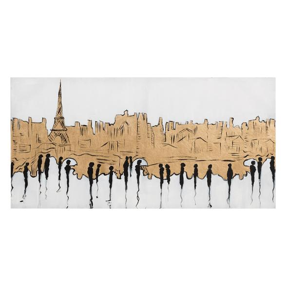 GOLD PARIS SKYLINE YAĞLIBOYA TABLO 60X120CM