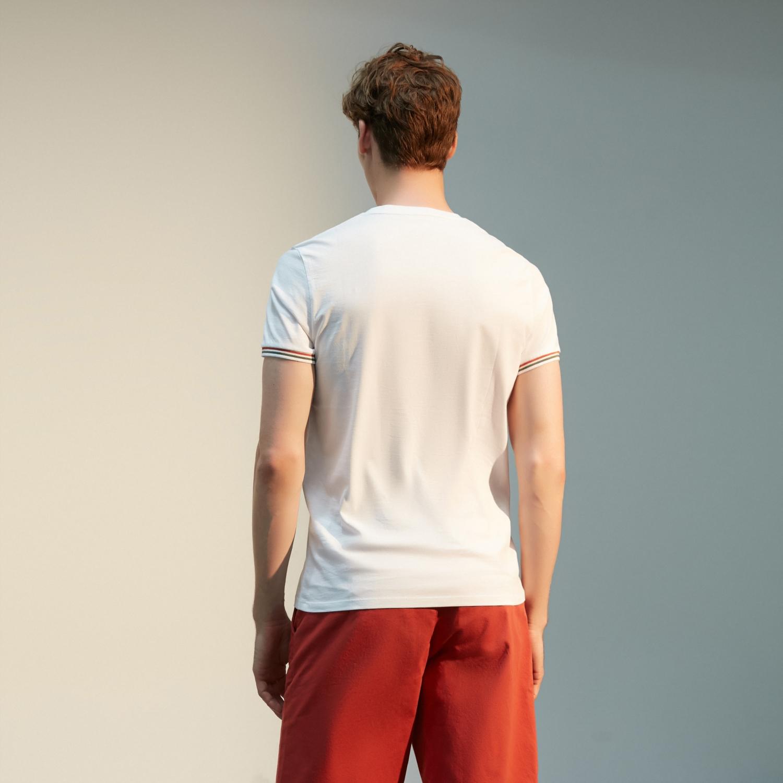 Erkek BEYAZ BİSİKLET YAKA SLOGAN DETAYLI PAMUK T-SHIRT 1217346|MUDO