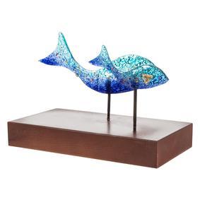 BLUE FISH 2 Lİ CAM BİBLO