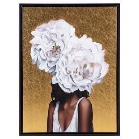 FLOWER LADY GOLD METAL YAĞLIBOYA TABLO 90X120CM