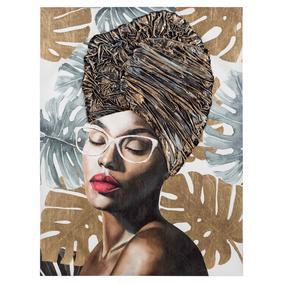 AFRICAN LADY GLASSES YAĞLI BOYA TABLO90X120CM