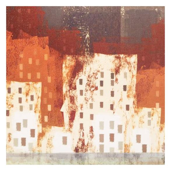 RED CITY ABSTRACT DOKULU KANVAS TABLO 60X90CM