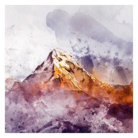 GOLD-BLUE  MOUNTAINS DOKULU KANVAS TABLO 70X100CM