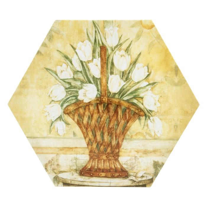 WSTK FLOWERS IN BASKET TABLO 30X35 CM