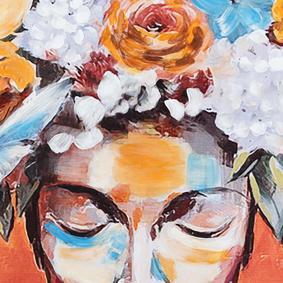 FLOWER HAT LADY YAĞLIBOYA TABLO 100X100 CM