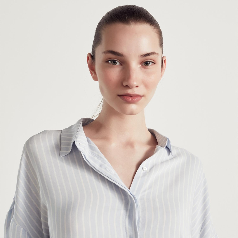 Kadın AÇIK MAVİ ÇİZGİLİ KARPUZ KOL GÖMLEK 1216696|MUDO