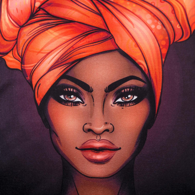 AFRICAN WOMAN KIRLENT 45X45CM