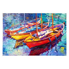 COLORFUL BOATS DOKULU KANVAS TABLO 60x90 CM