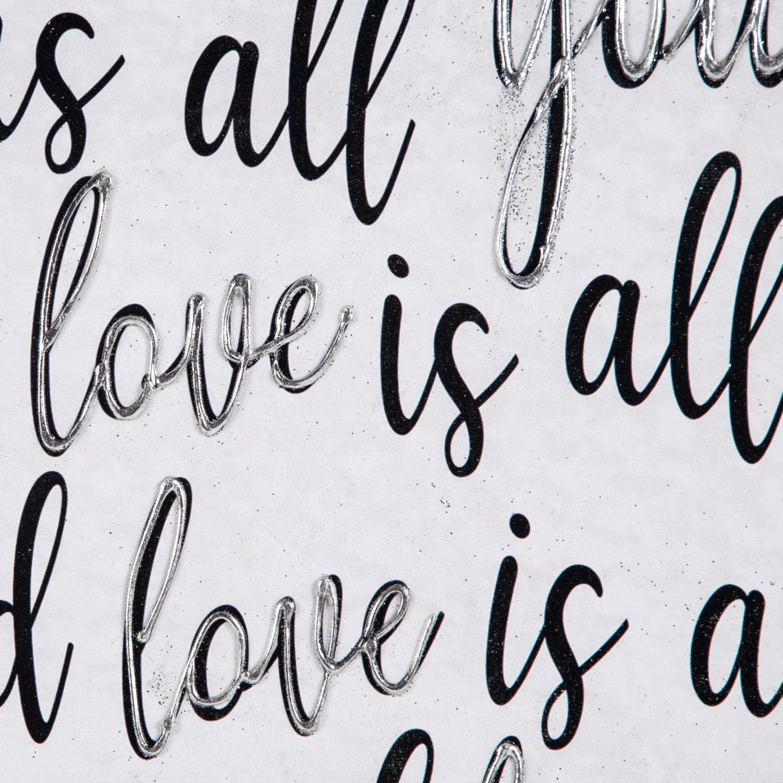 LOVE IS ALL YOU NEED DOKULU KANVAS TABLO 80x80 CM