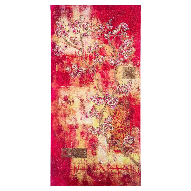 CHINESE FLOWER DOKULU KANVAS TABLO 50x100 CM
