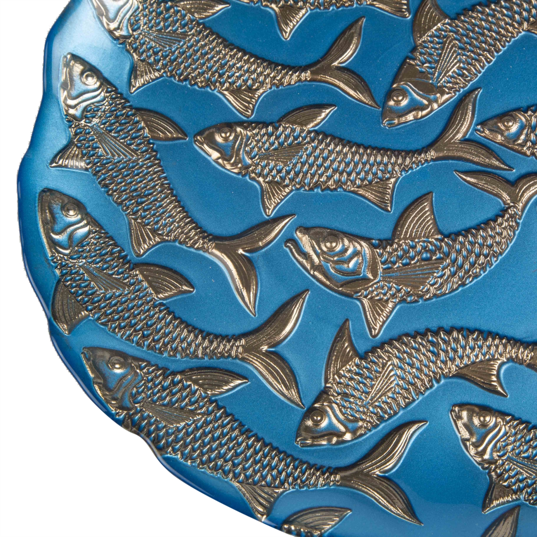 FISH DEKORATİF TABAK MAVİ 28X2CM