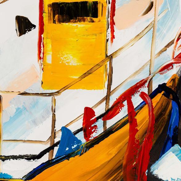 BOAT ON THE RIVER-IV YAĞLI BOYA TABLO 80X80CM