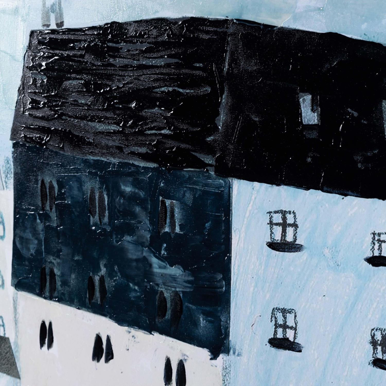 BLUE HOUSES YAĞLI BOYA TABLO 100X100 CM